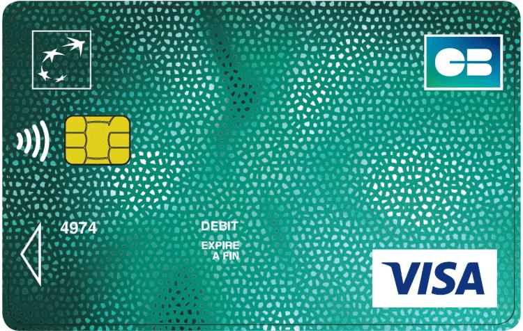 Carte bancaire visa classic de BNP Paribas : carte visa de couleur verte .