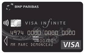 Carte Infinite BNP Paribas : carte de couleur noire avec service contact .