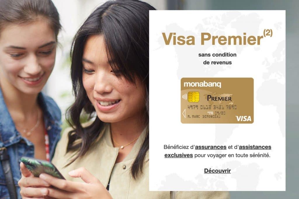 Carte visa premier Monabanq : banque en ligne Crédit Mutuel, avec un service mobile digital .