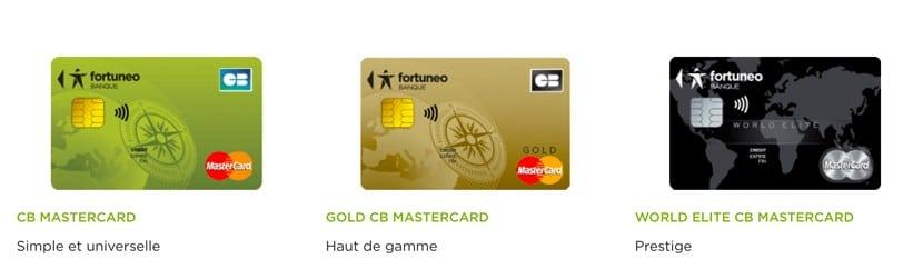 Carte Fortunéo : 3 CB de la banque en ligne à choisir .  UN ensembble de Mastercard gold et World elite premium