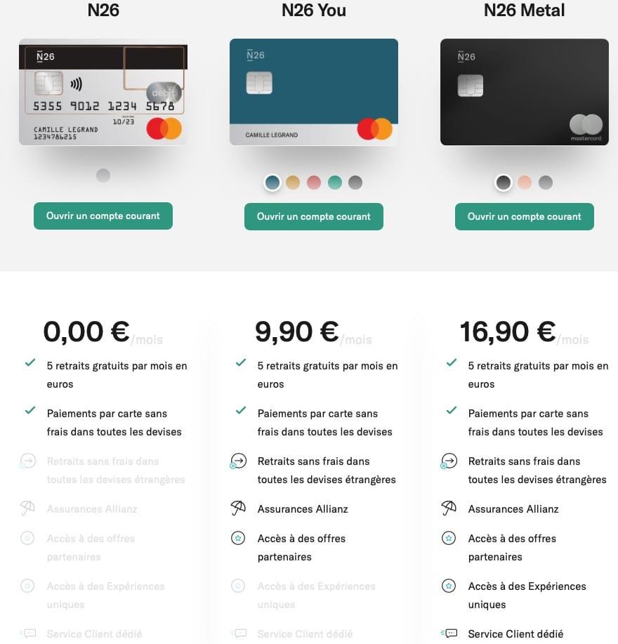 Carte bancaire N26 : offre de compte banque en ligne gratuite sans frais N26 mastercard , avec frais N26 You, N26 Métal