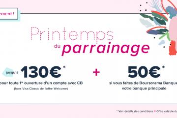 Offre de parrainage Boursorama Banque : 130 euros + 50 pour un compte cournat principal