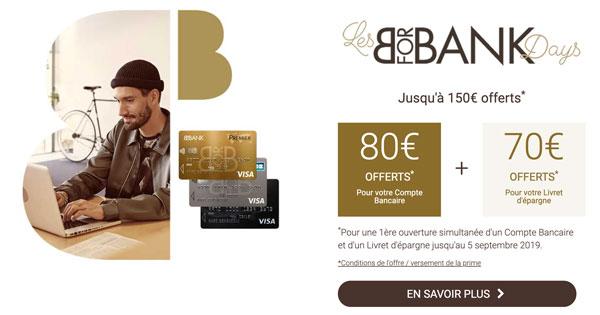 Jusqu'à 150 euros offerts à la souscription d'un compte en ligne chez BforBank