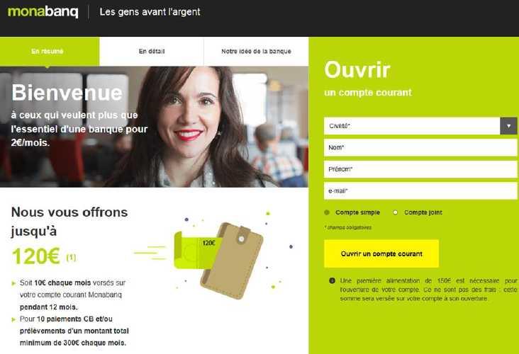 Monabanq : banque en ligne gagner 120 euros à l'ouverture d'un compte bancaire